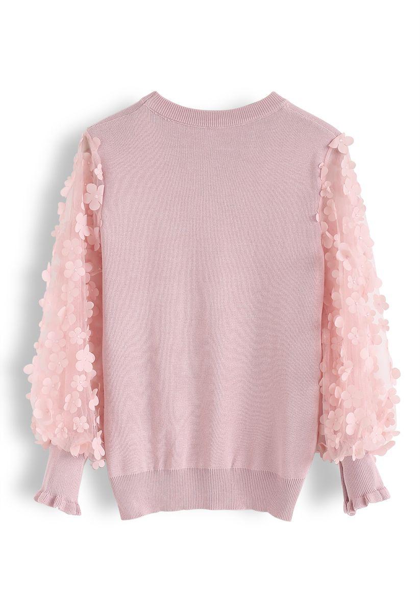 3D Flower Mesh Sleeves Knit Top in Pink