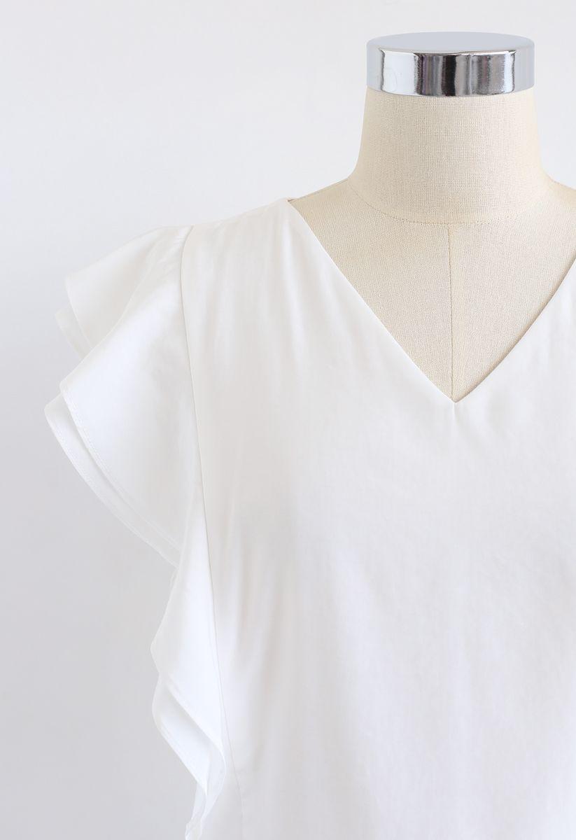 Bowknot Waist Sleeveless Ruffle Top in White