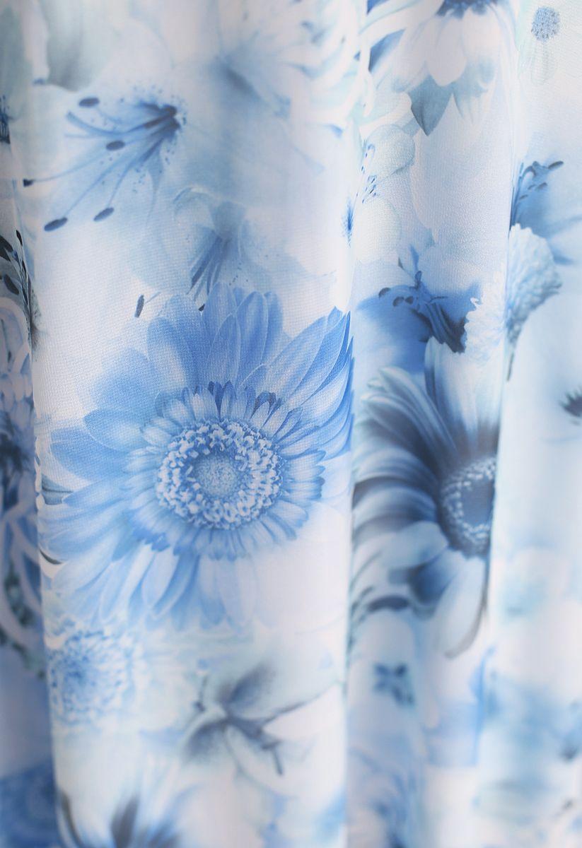 Blue Sunflower Pleated Sleeveless Chiffon Dress
