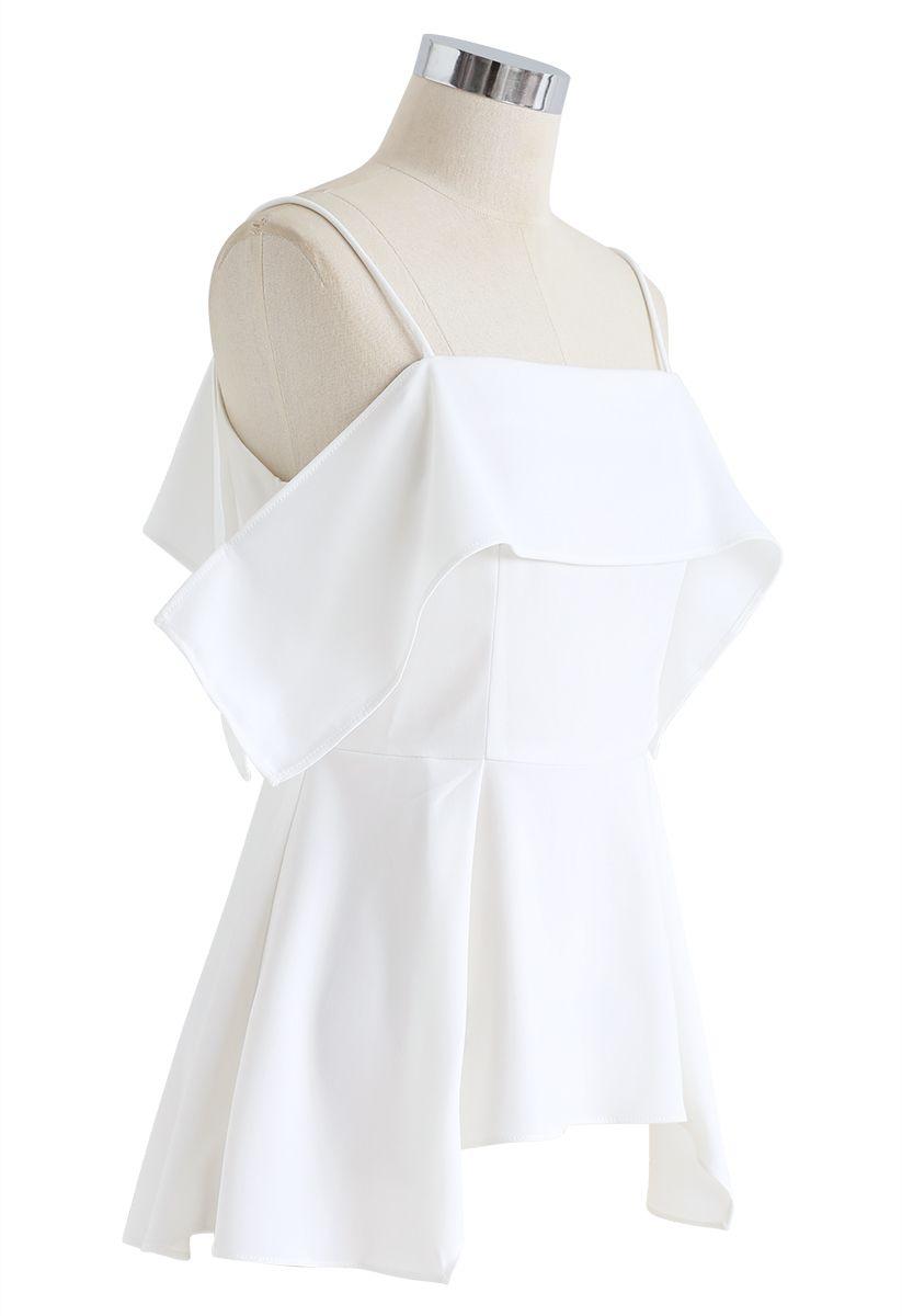 Ruffle Hi-Lo Hem Cold-Shoulder Top in White