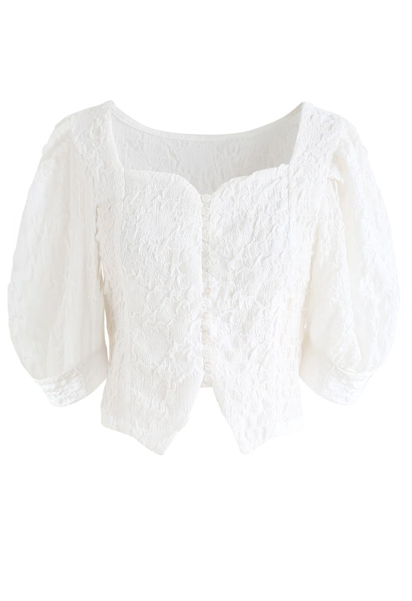 Sweetheart Neck Button Down Crop Top in White