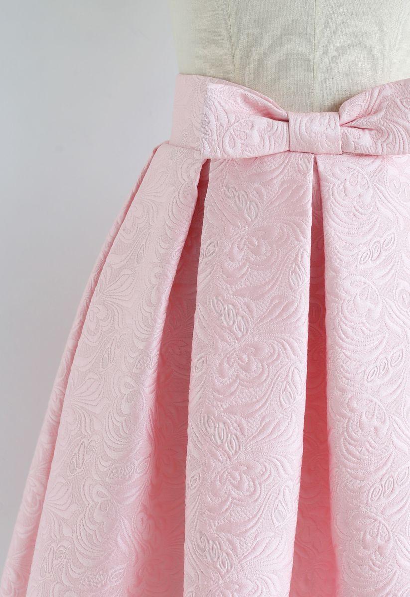Bowknot Pleated Jacquard Midi Skirt in Pink