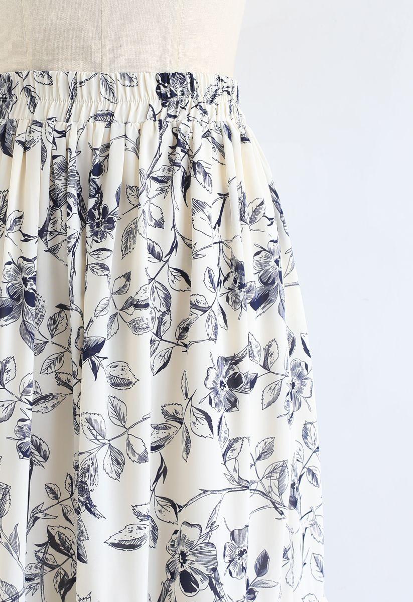 Navy Floral Frilling Hem Maxi Skirt