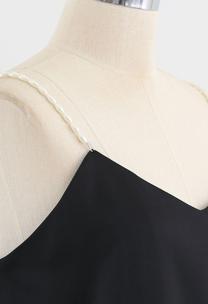 Pearl Straps Satin Cami Tank Top in Black