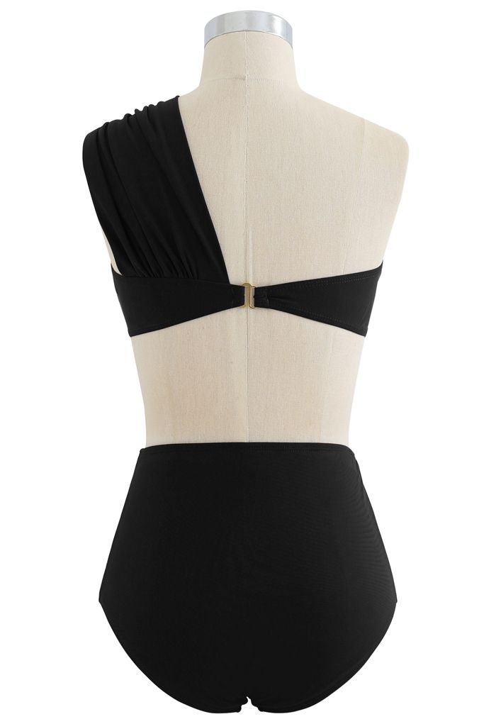 Sweet Knot One-Shoulder Bikini Set in Black