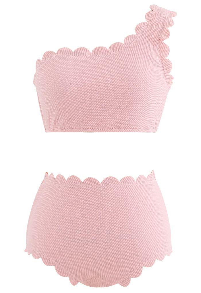 One-Shoulder Scalloped Bikini Set in Pink