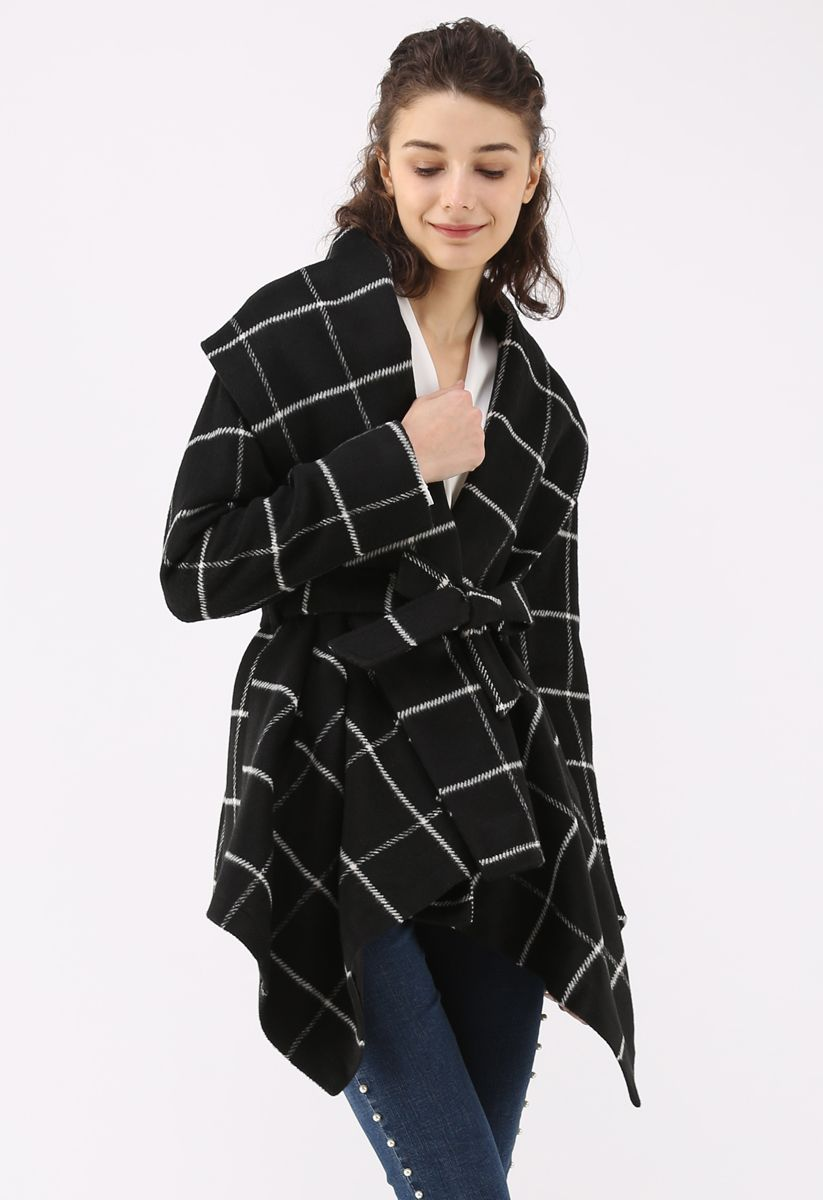 Prairie Rabato Manteau à carreaux noir