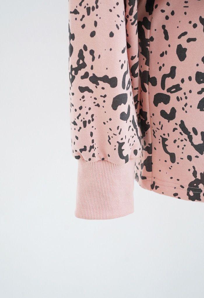 Inky Animal Print Long Sleeves Top and Shorts Set