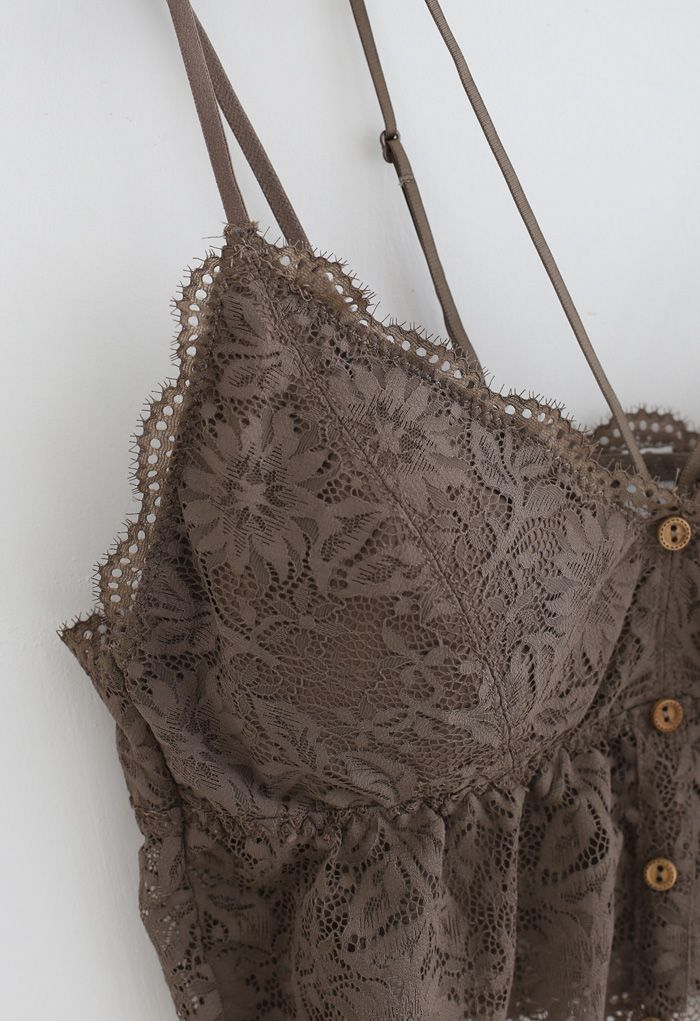 Strappy Full Lace Button Down Bustier Top in Brown