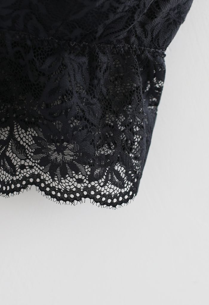 Strappy Full Lace Button Down Bustier Top in Black
