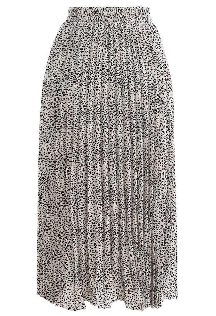 Animal Print Pleated Midi Skirt in Ivory