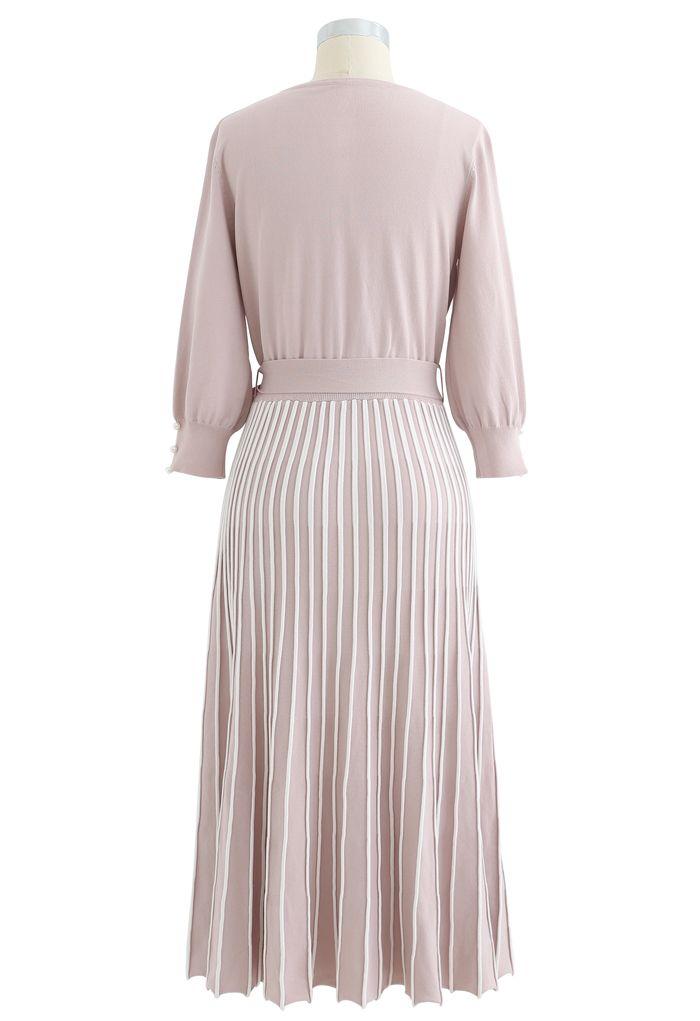 Radiant Lines V-Neck Bowknot Knit Dress in Pink