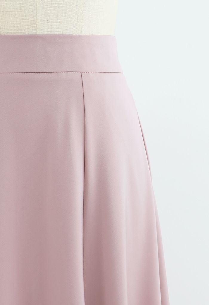 Satin A-Line Midi Skirt in Pink