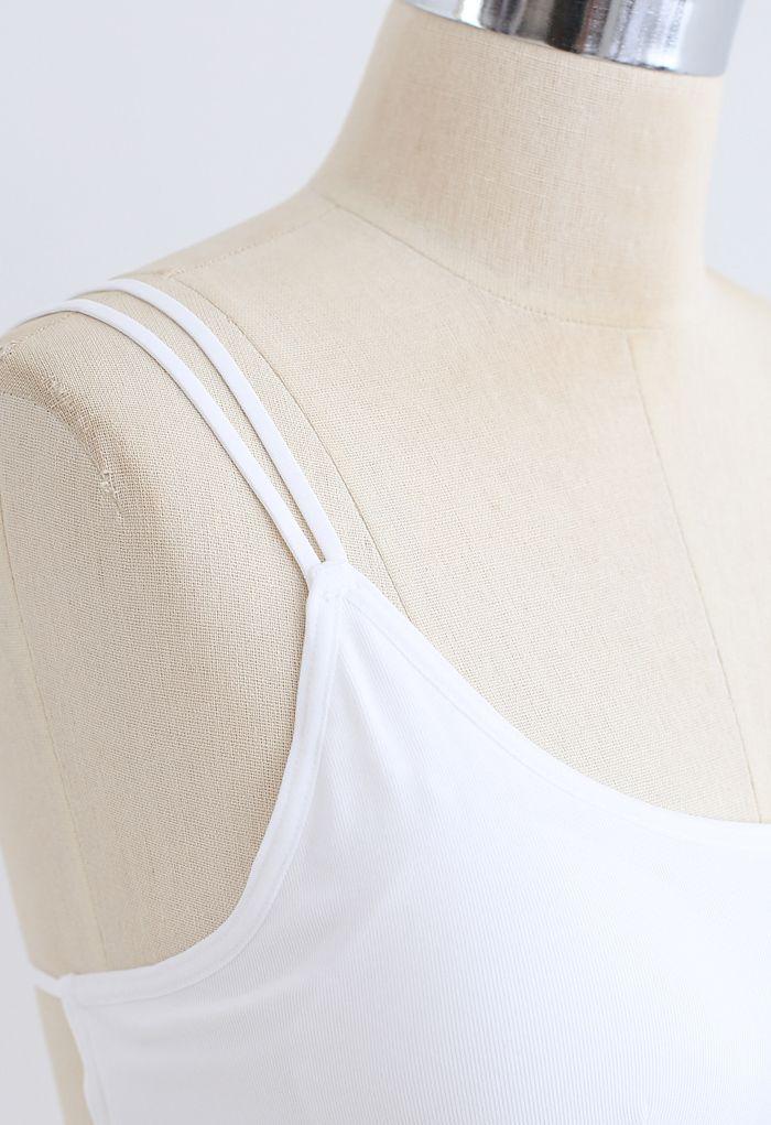 Double Straps Crisscross Back Bra Top in White
