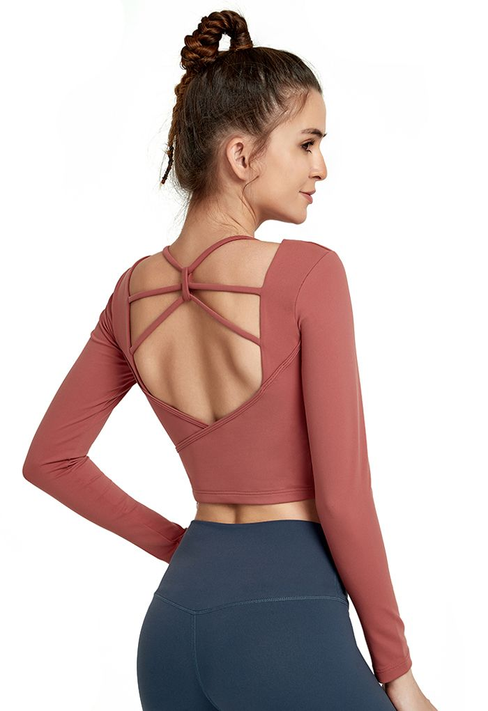 Crisscross Backless Crop Top in Rust Red