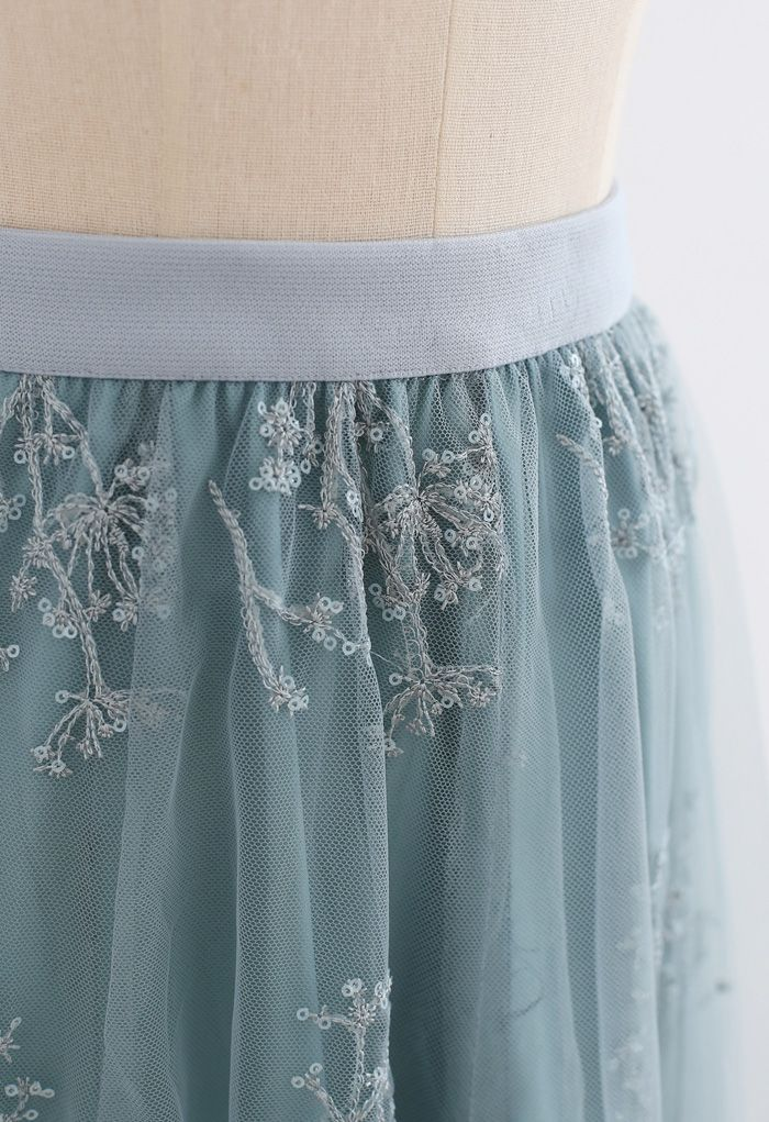 Sequins Embroidered Bouquet Mesh Midi Skirt in Turquoise