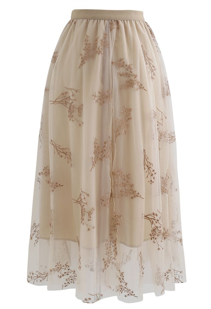 Sequins Embroidered Bouquet Mesh Midi Skirt in Tan