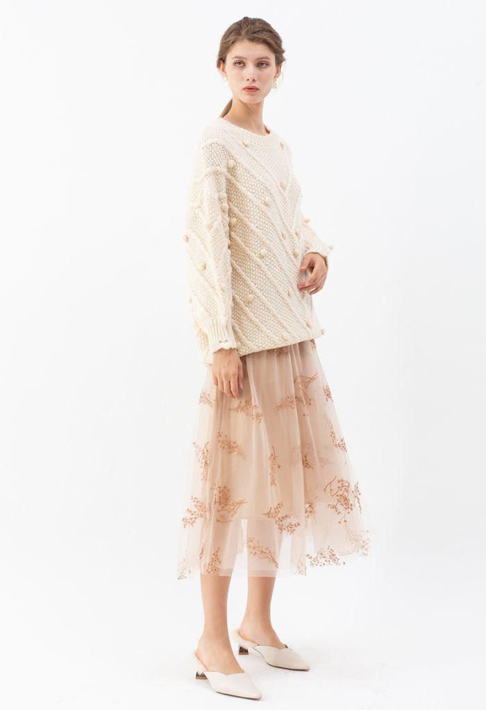 Raw Hem Pom-Pom Oversize Knit Sweater in Cream