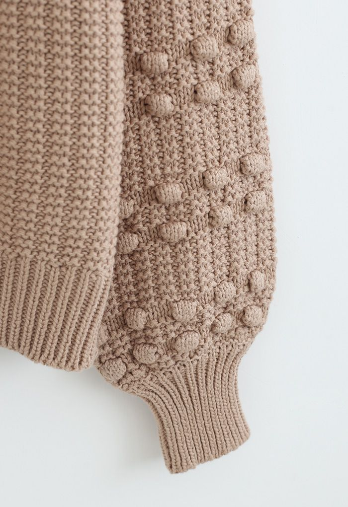Bubble-Sleeve with Pom-Pom Detail Sweater in Tan