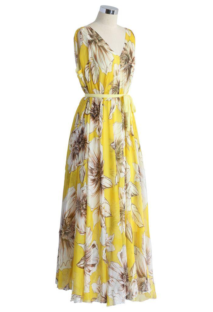 Robe Merveilleuse Florale Longue en Mousseline de Soie Jaune