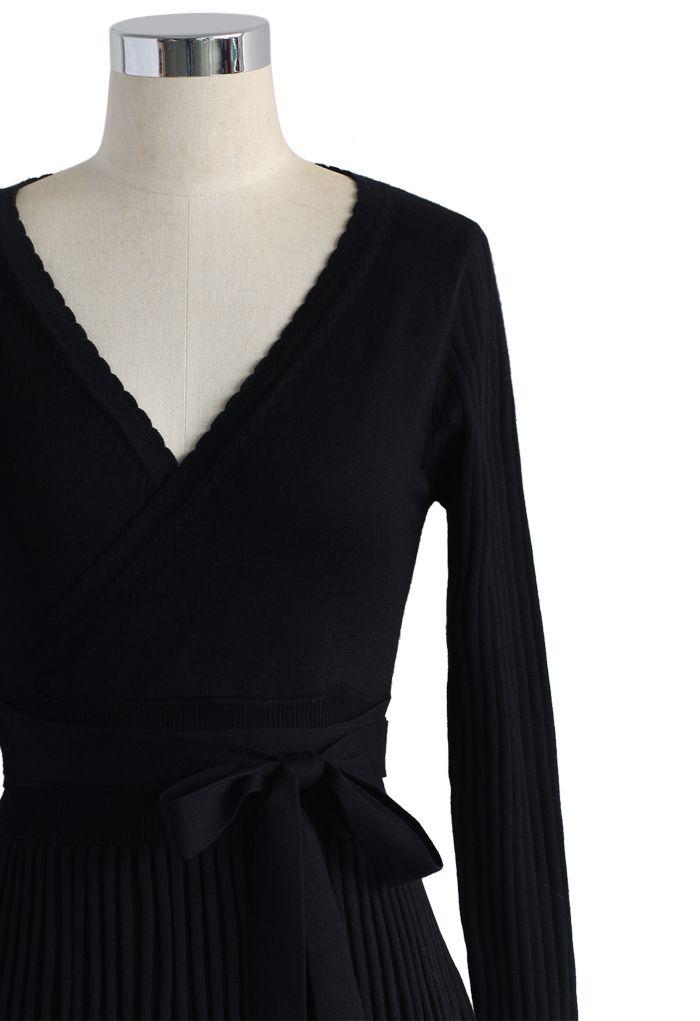 Embrasser une Robe tricotée légère Noire