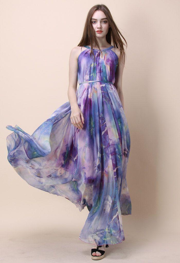 Aquarelle Florale Robe Longue en Violet