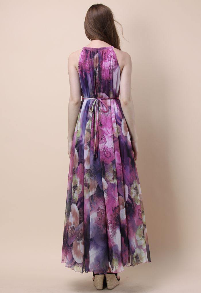 Pourpre Mystérieux Robe Floral Longue