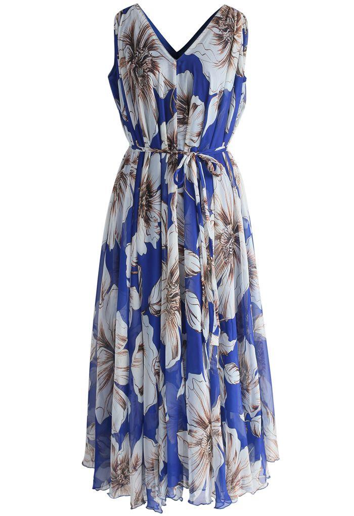 Robe Merveilleuse Florale Longue en Mousseline de Soie Bleu