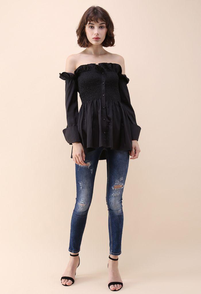 Chérie élégante Top épaules dénudées asymétrique à volants noir.