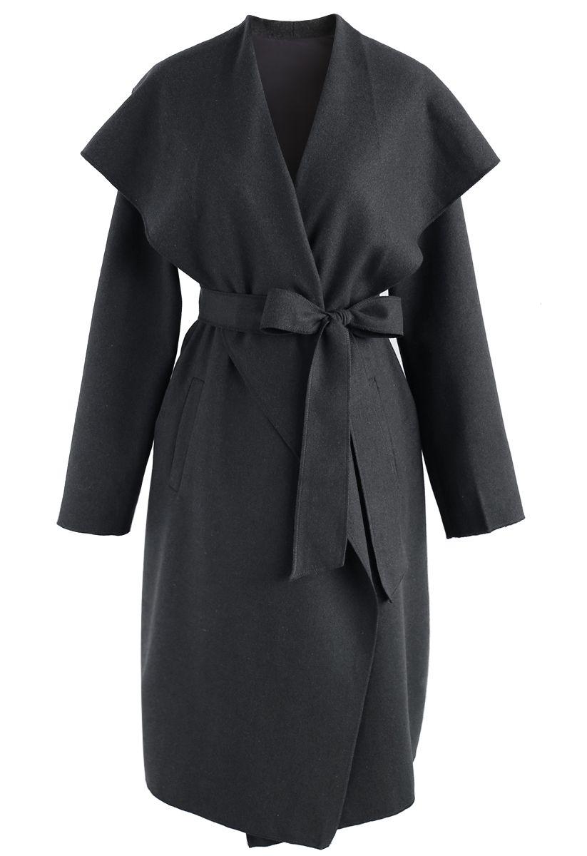 N.A Myself Manteau en laine mélangée ouvert gris
