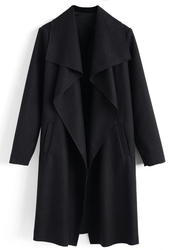 N.A Myself Manteau en laine mélangée ouvert noir