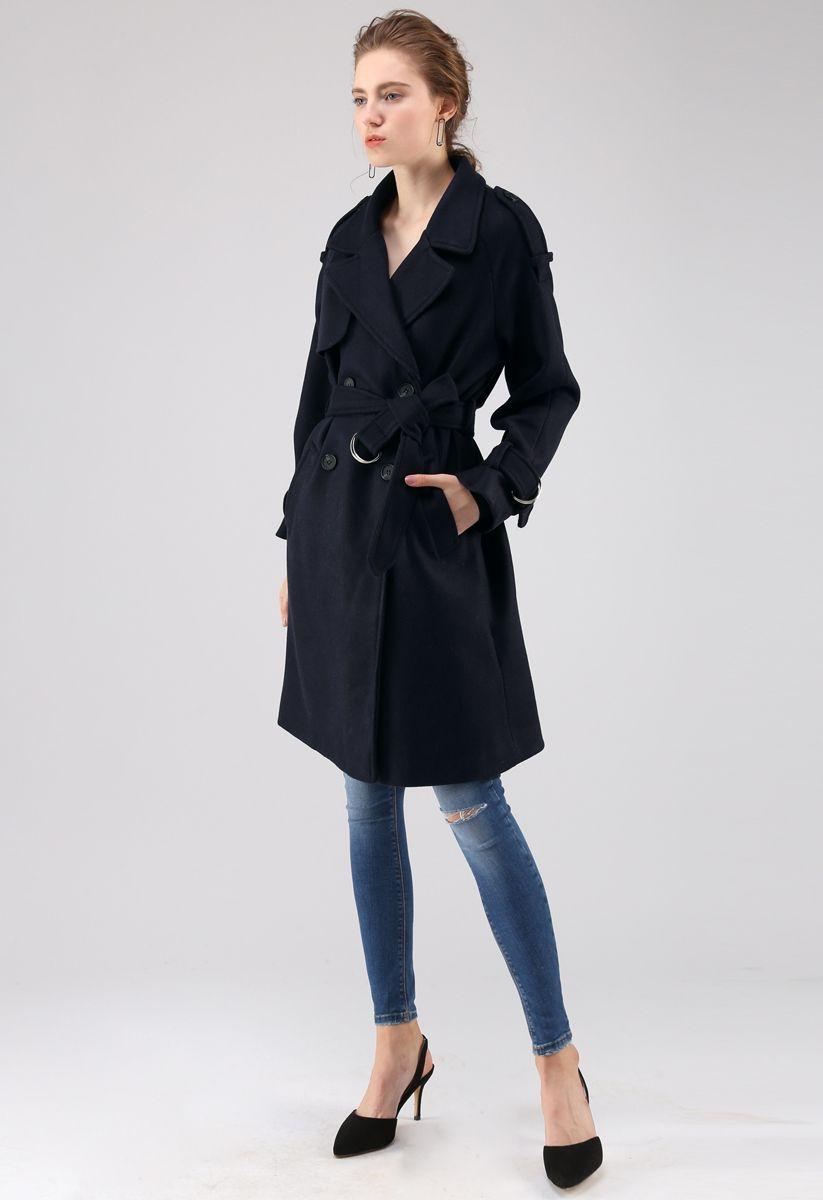 Manteau Snug en laine mélangée croisée bleu marine