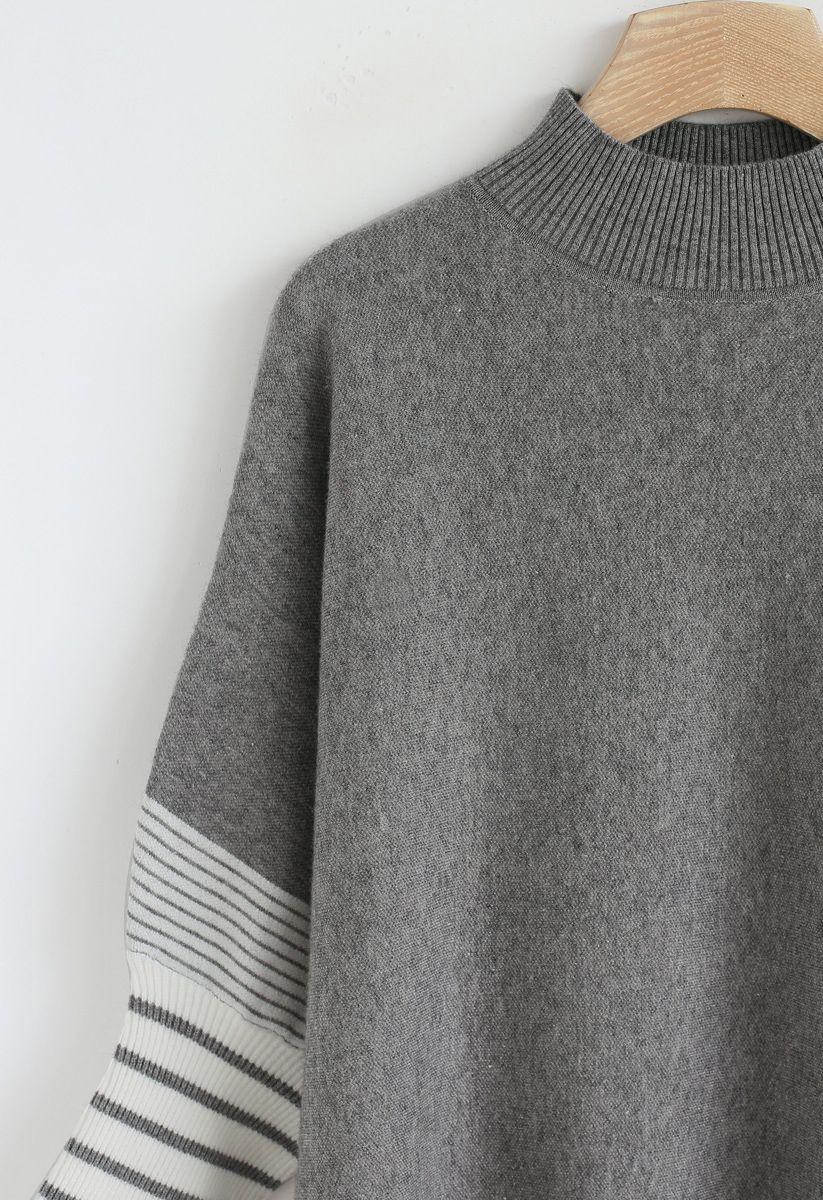 Pull à capuchon en maille oversize rayé gris foncé