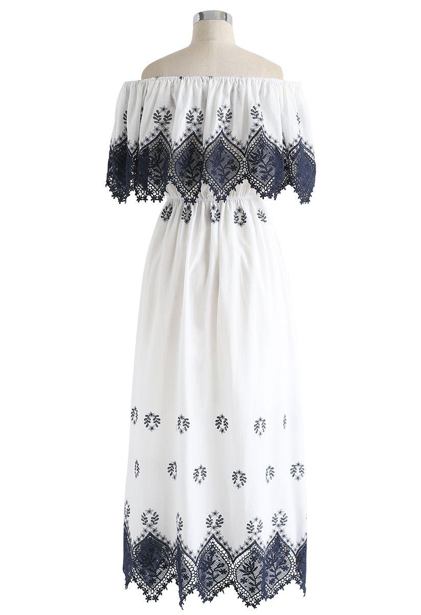 Lacey Fair Robe mi-longue à épaules dénudées et crochet bleu marine