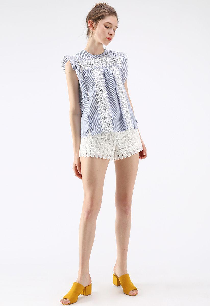 Crochet Reverie Top sans manches à rayures
