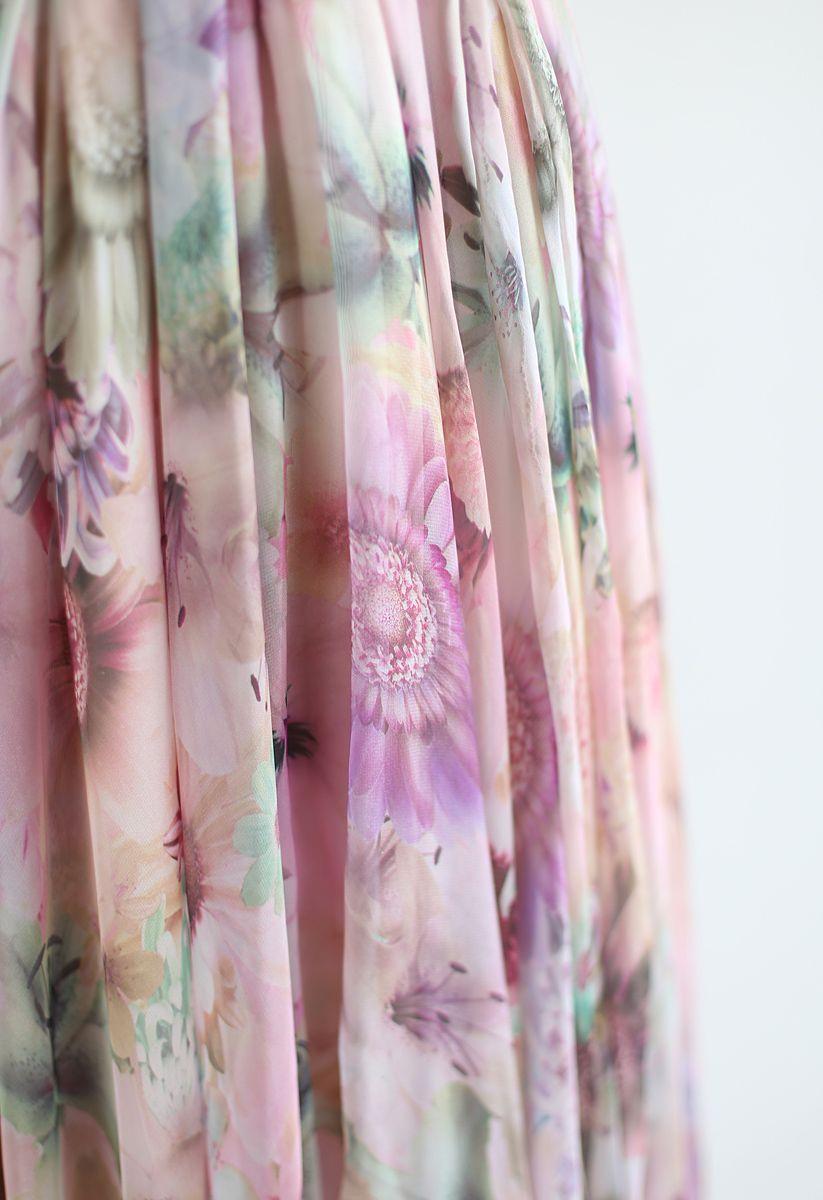 Robe longue en mousseline en aquarelle tournesol