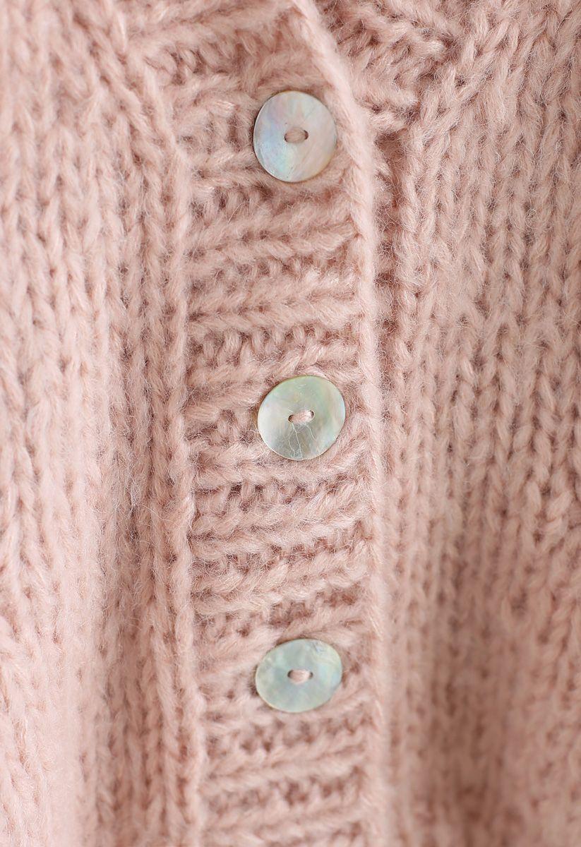 Pause pour le confortable cardigan en tricot à la main Chunky rose
