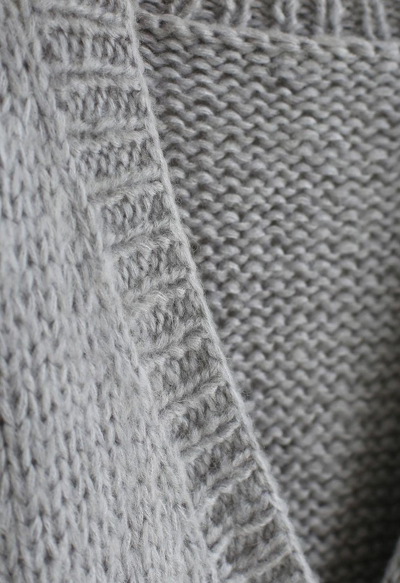Pause pour le cardigan en tricot à la main confortable Chunky gris