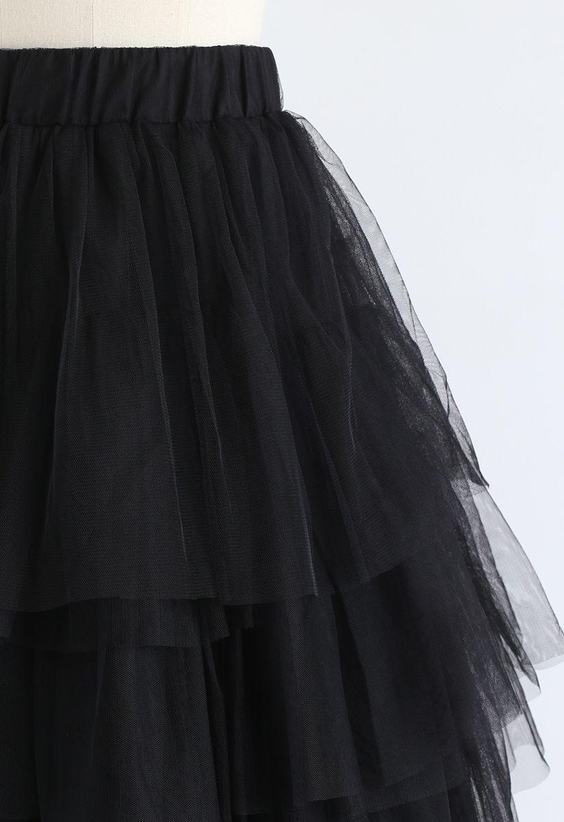 Aime-moi plus Jupe Noire en Tulle Superposée