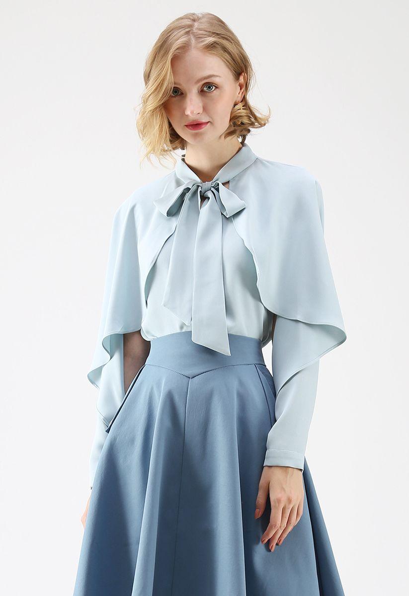 Coup de cœur pour le casual Bowknot Cape Sleeves Top in Blue