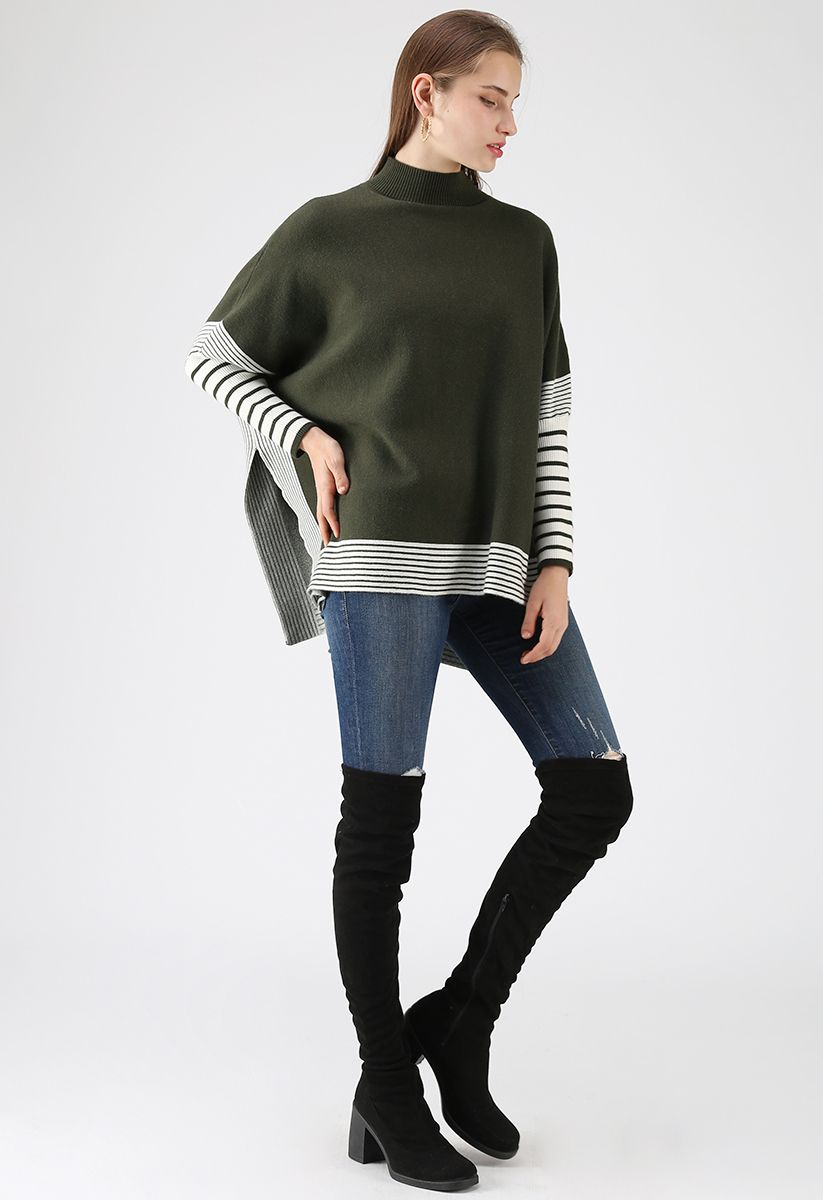 Pull à capuchon en tricot oversize rayé Olive Fields