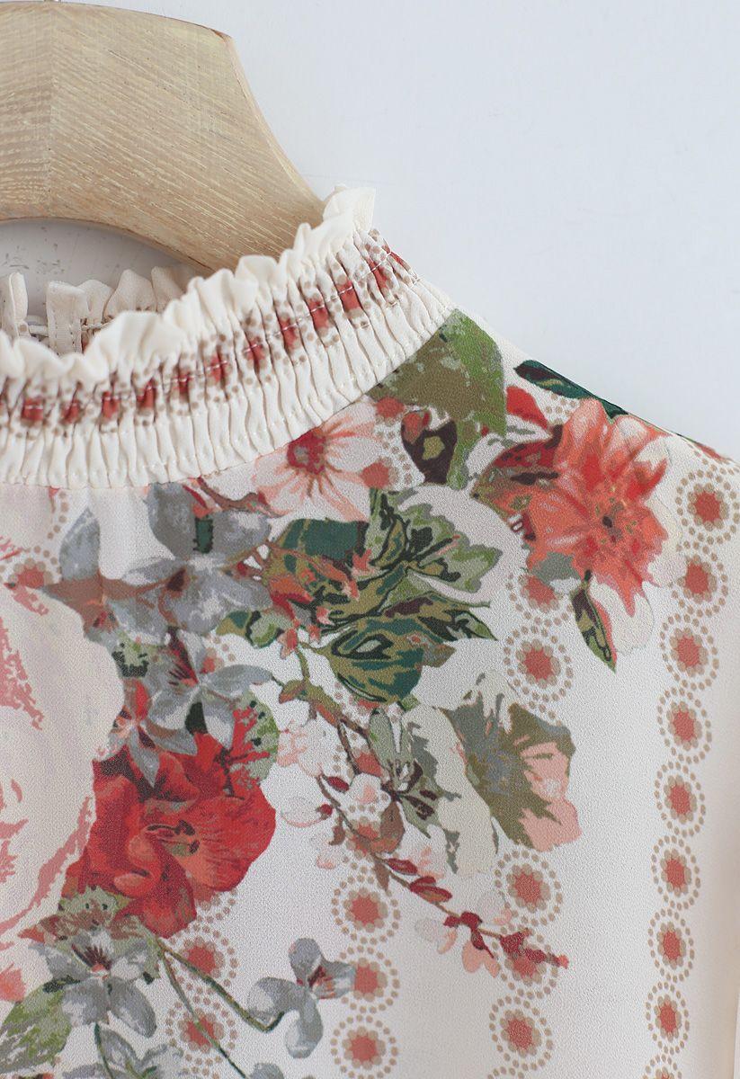 Haut en mousseline à fleurs