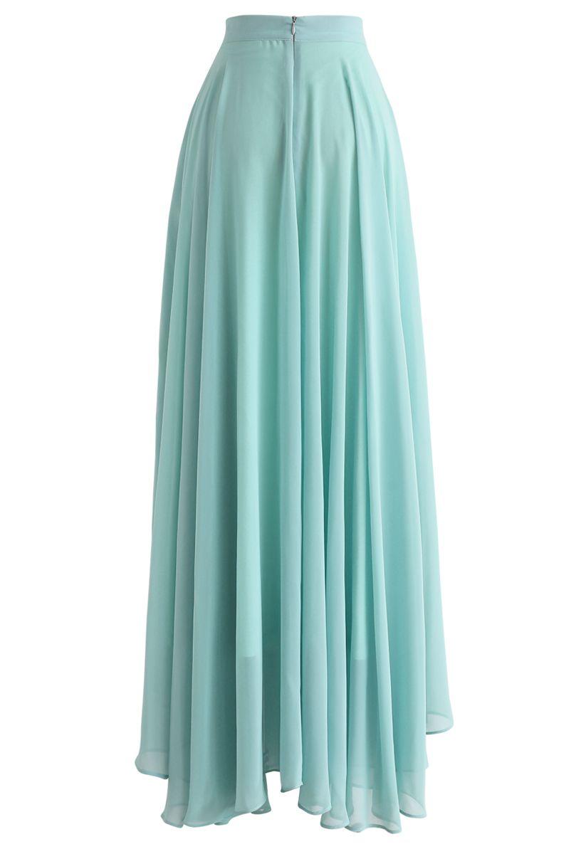 Favorite Intemporelle Jupe longue indémodable en mousseline couleur Menthe