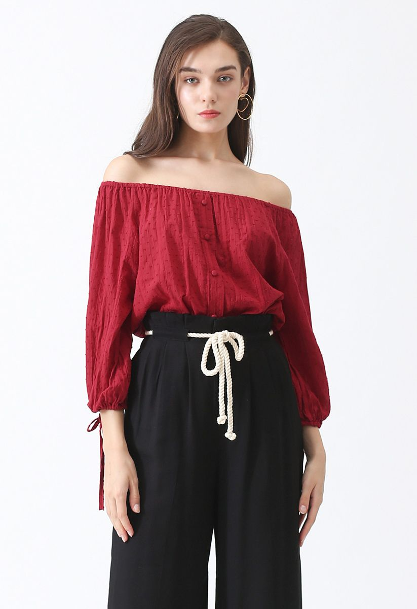 Haut à épaules dénudées Summer Breeze de couleur rouge