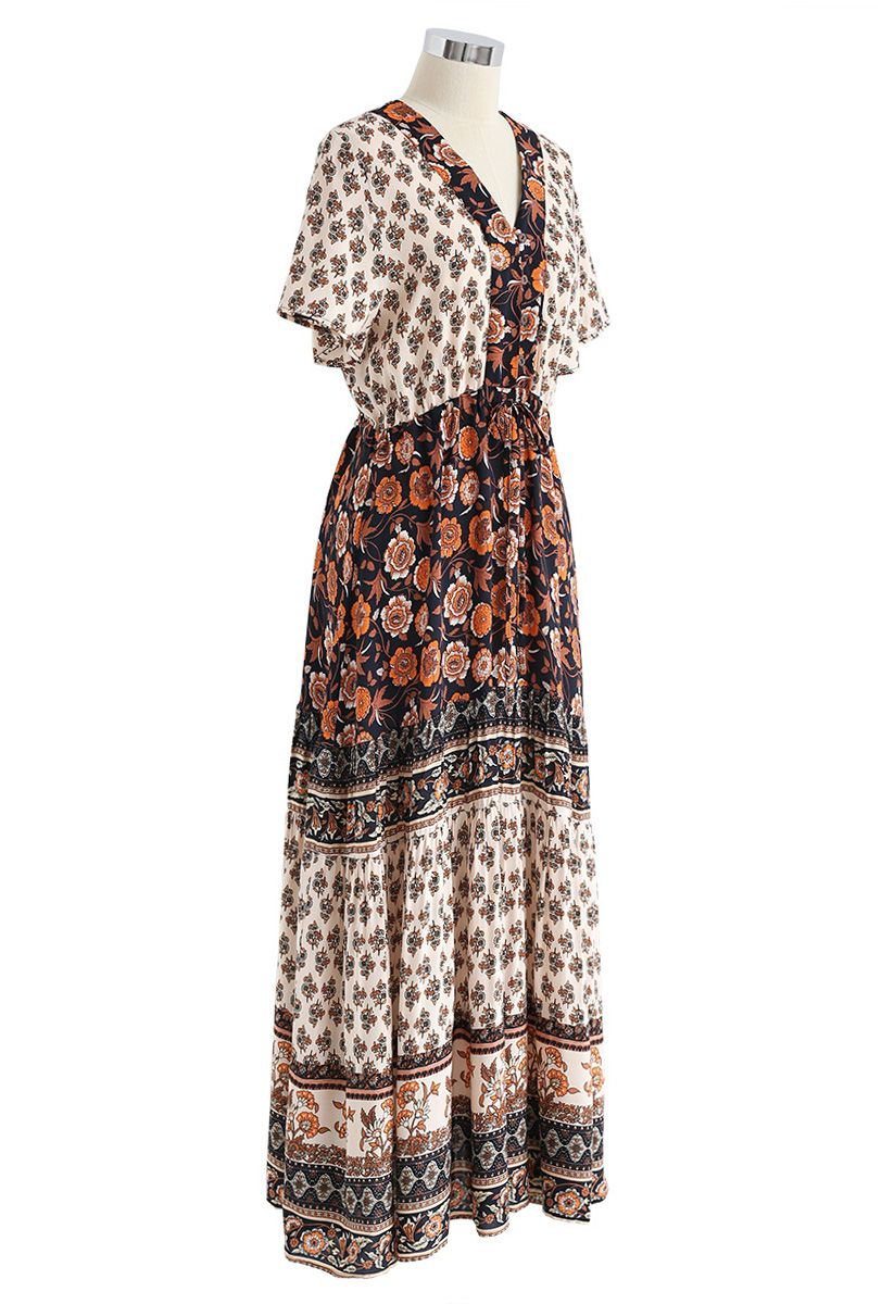 Robe longue à fleurs Boho Bomshell en noir