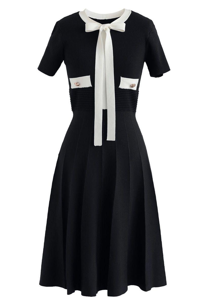 Faire un tour avec moi robe en tricot bowknot en noir