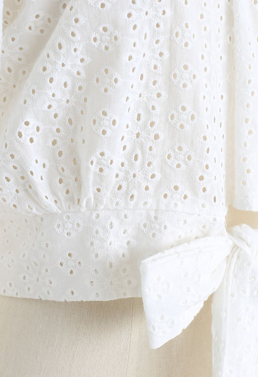 Snowflake Eyelet Off-Shoulder Cotton Top in White