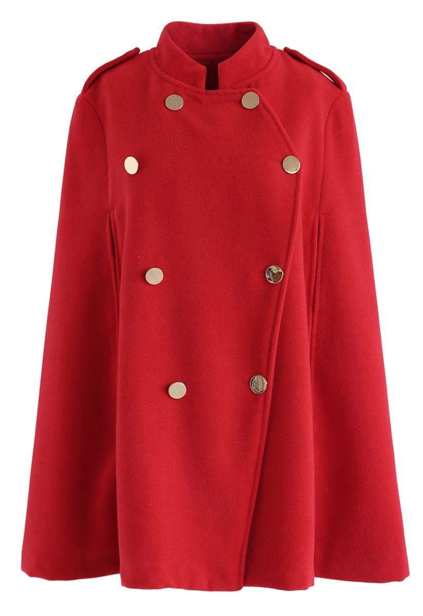 Double-Breasted Cape Coat in Red