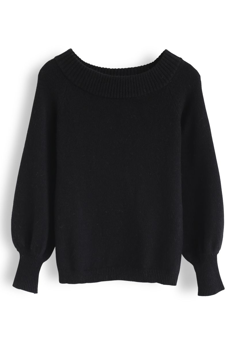 Puff Sleeves Off-Shoulder Fluffy Knit Sweater in Black