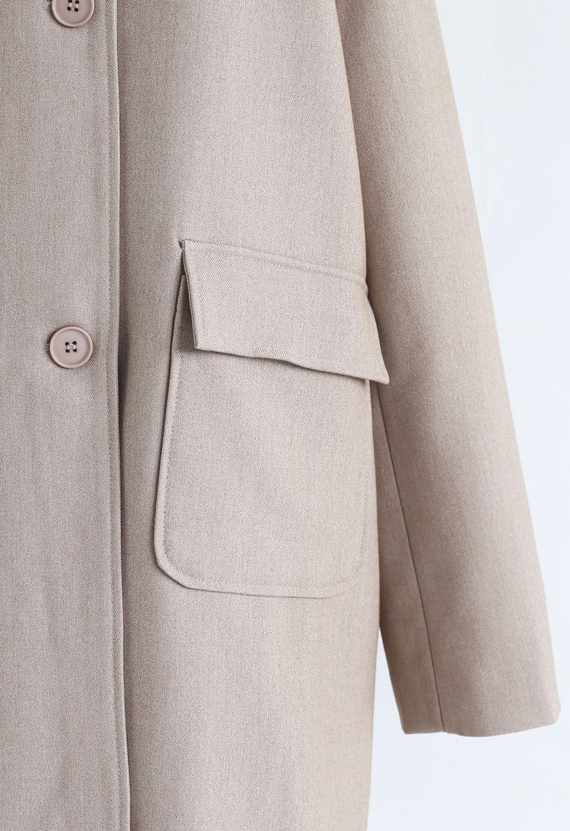 V-Neck Pockets Longline Coat in Tan